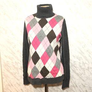 Esprit Turtleneck Sweater Argyle Size XL